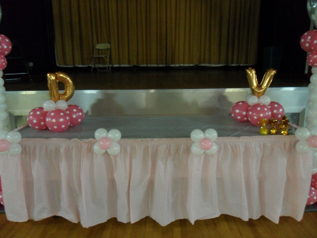 Baptism balloon arch party decorations by teresa for Balloon decoration ideas for christening