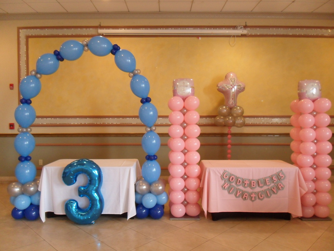 Baptism birthday party party decorations by teresa for Balloon decoration ideas for christening