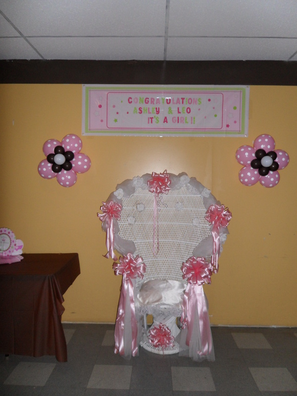 BABY SHOWER: BROWN, PINK AND WHITE - PARTY DECORATIONS BY TERESA