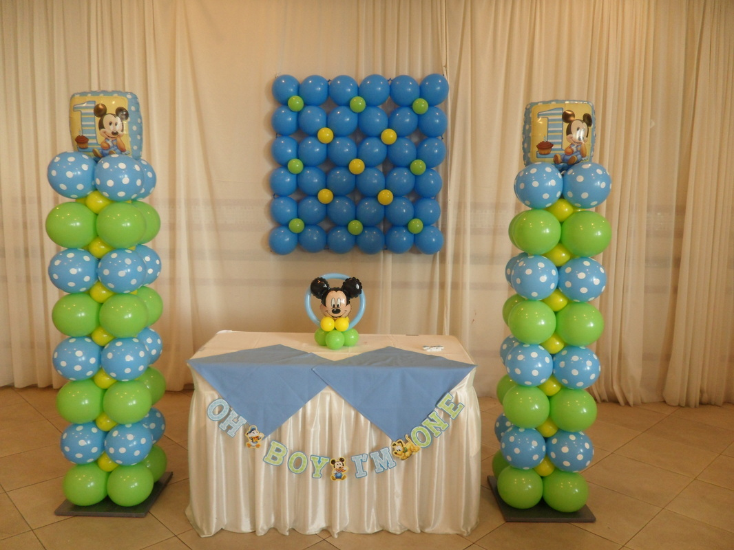 Baby mickey 1st party party decorations by teresa for Balloon decoration ideas for 1st birthday