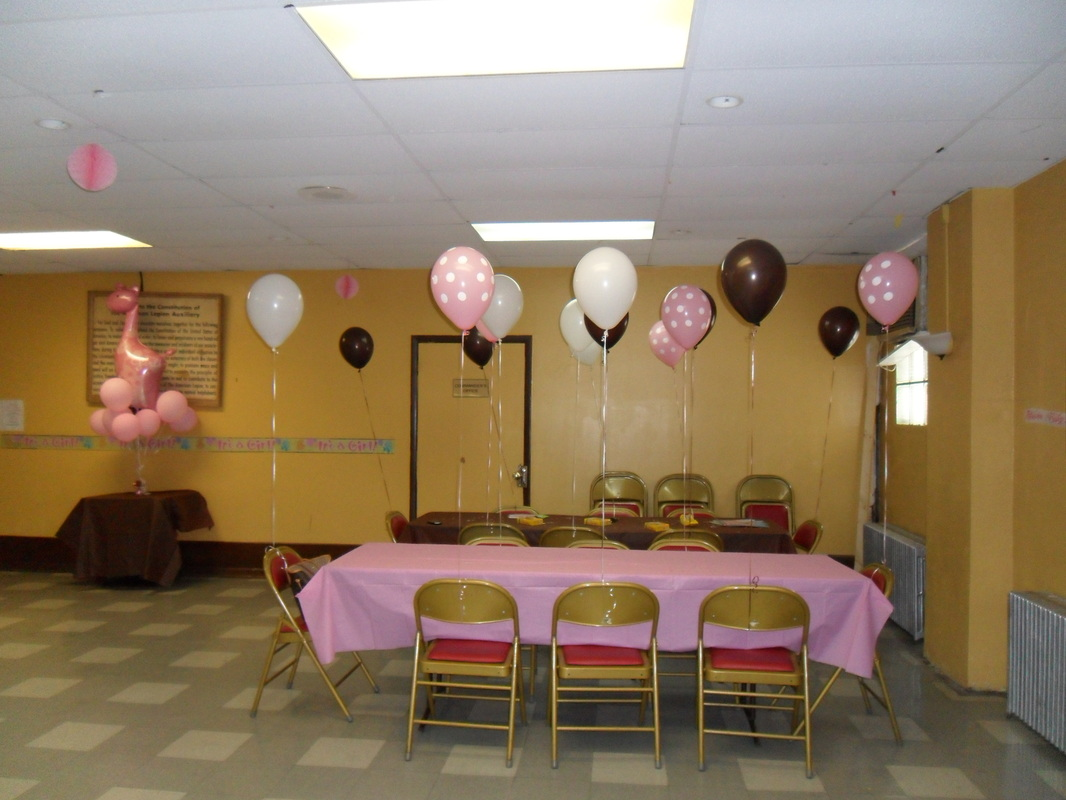 Baby shower brown pink and white party decorations by for Baby shower party hall decoration ideas
