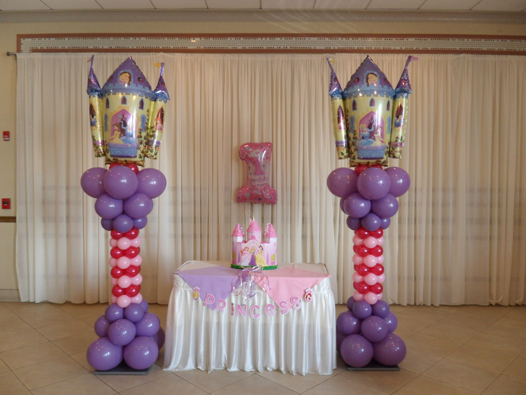Princess party party decorations by teresa for Balloon decoration images party