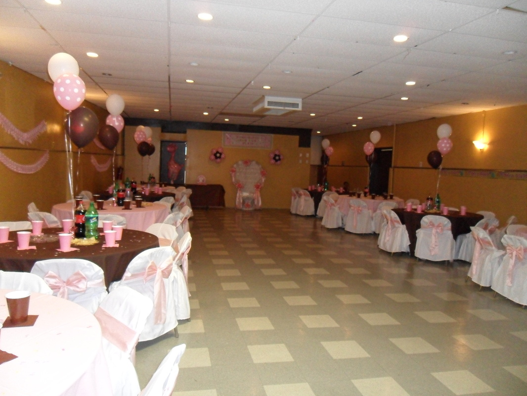 Baby shower brown pink and white party decorations by for Baby shower hall decoration