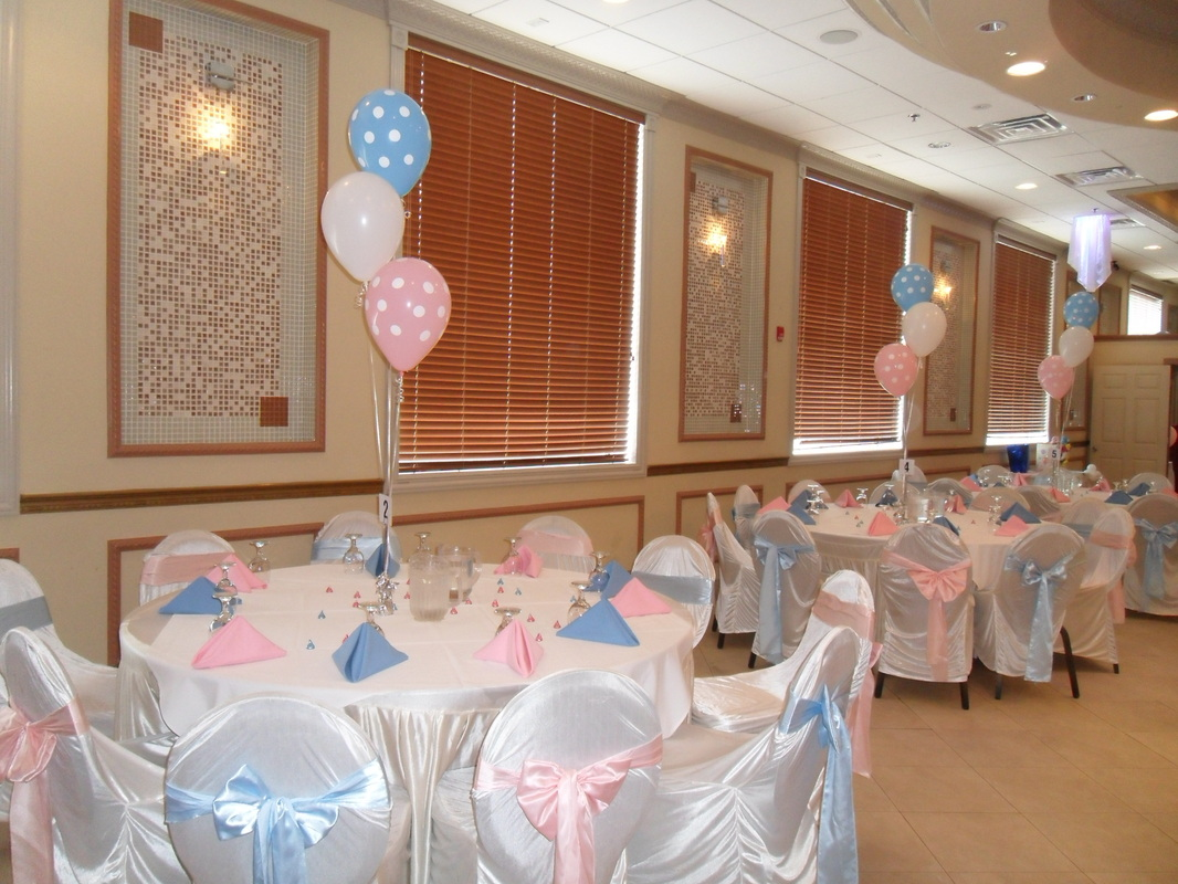 Boy or girl party decorations by teresa for Baby shower party hall decoration ideas