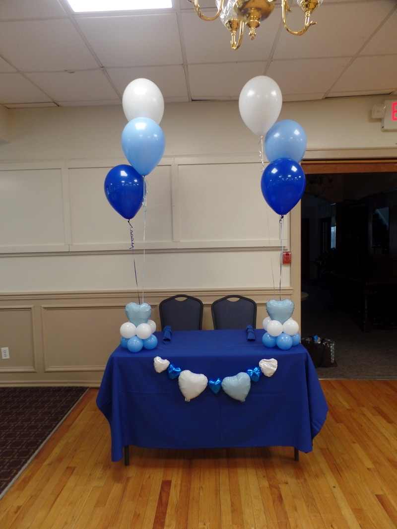 DARK BLUE PALE BLUE WHITE WEDDING PARTY DECORATIONS BY TERESA