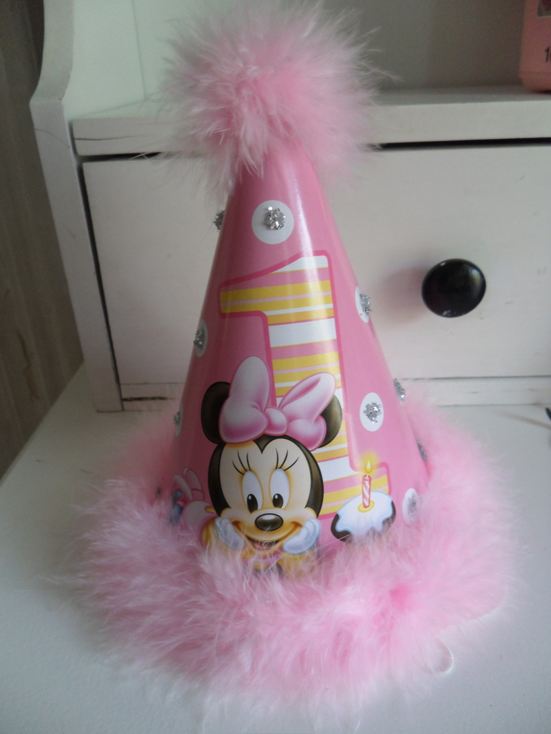 Baby Minnie Mouse 1st Birthday Hat With Glitter And Marabou Feathers