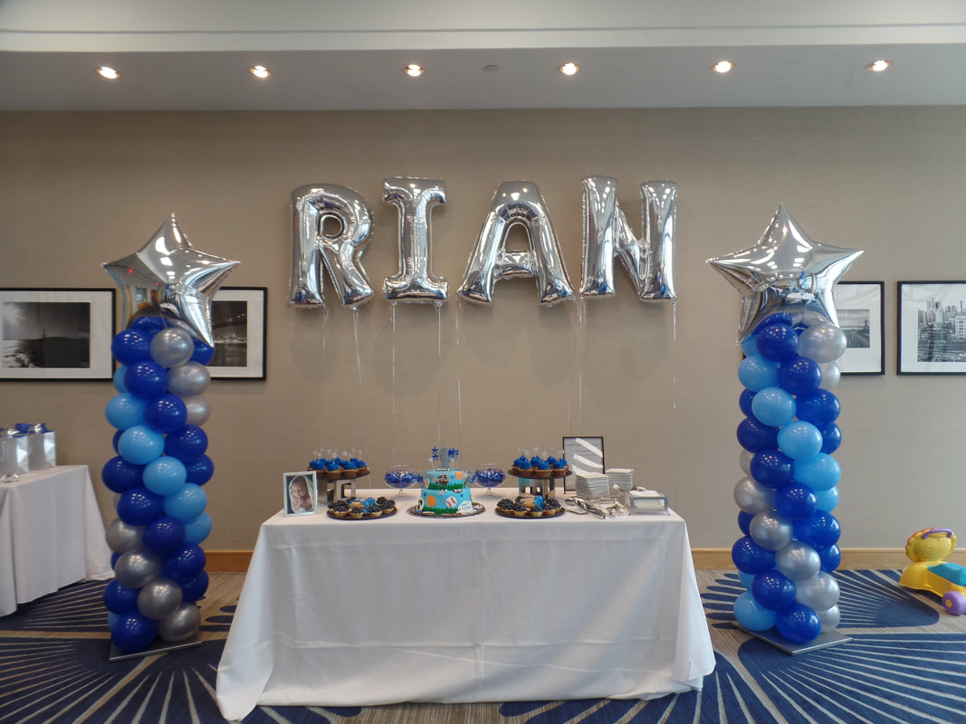 For The Cake Table Area I Created 2 Balloon Columns In Dark Blue Light And Silver With A Star Topper Also Used Letters As